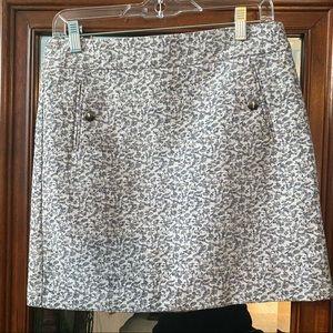 LOFT Petite Floral Linen Blend Mini Skirt